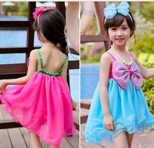 1513 2015 Yiwu wholesale south Korea fashion European sweet Children girl big bowknot candy color girl dress