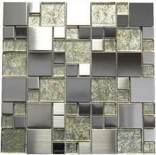 glass stainless steel mix mosaic tile