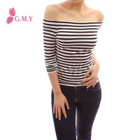 Top design Black and White Stripe Long Sleeve Tunic Cotton Spandex Women Off Shoulder Tops