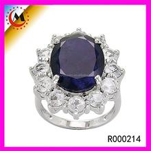 Fashion Single Blue Glass Prong Set Silver Neelam Stone Ring For Female