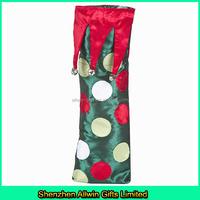 Personalized Christmas gift bag Velvet drawstring bag Single bottle wine bag