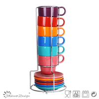 ceramic stack cups and saucer assorted color HG3-202