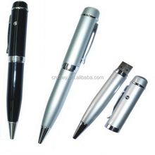 Hotselling usb pen dirve with led light,usb flash drive laser pointer ball pen,free custom logo printing