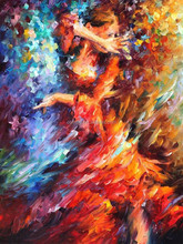 Latest Design Skilled Artist Handmade High Quality Knife Flamenco Dancer Oil Painting Spanish Dancing Lady Painting On Canvas