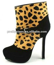 2012 Winter Pretty Steps leopard leather short boots for lady,5cm heels guangzhou wholesale leather short boots for lady