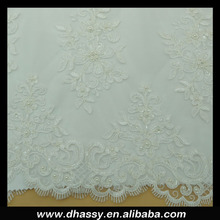 Hot sell fancy beaded lace fabric for wedding dress