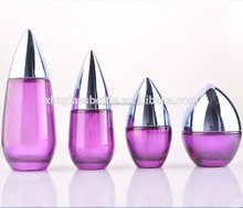 2015 new customize fancy design cosmetic glass bottle purple coated water drop skin care cream jar lotion serum bottle wholesale