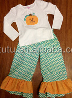 Halloween boutique outfits 2015 kids halloween clothing designer 100%cotton pumpkin appliqued outfit chevron ruffle pant sets