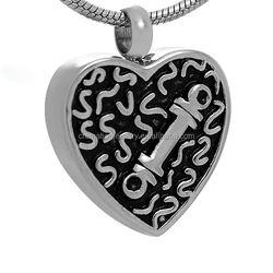 Black Enamel Heart Bone Pendant Stainless Steel Pet Ash Jewelry