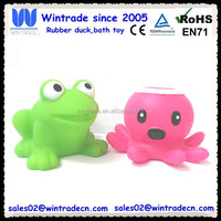 Floating rubber toy plastic frog with rubber octopus