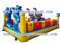 Hot sale Outdoor playground bouncer N slide inflatable fun city for kids SP-FC029