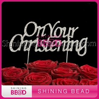 Rhinestone Letter On Your Christening Cake Topper with Double Sticks For Cakes Decorating