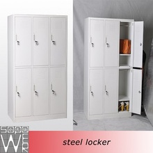 colorful office 6 door high quality stainless steel clothes locker with hanging rods