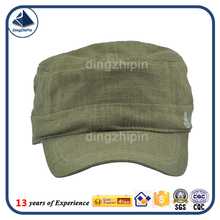 Singapore linen blank Military Army Adjustable Flat Top cap
