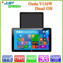fashion Onda 11.6 inch Intel Windows8.1+Android 4.4 OS dual os android tablet pc Video RAM 2GB/ROM 64GB with high quality