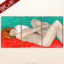 Modern triptych art woman portrait wall decor nude girls oil painting abstract art