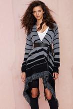 2015 wholesale women stripes fringes knitting sweater cardigan coat plus size