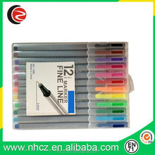High quality 0.4MM triangular fine liner pen assorted 12 colors