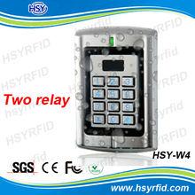 TWO relay metal waterproof case keypad rfid acces control
