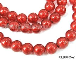 Crackle red glass round beads 2011 new design
