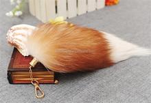 pom pom with key chain/high quality faux fur/fox tail wholesale