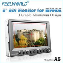 FEELWORLD 5 inch video monitor on camera with durable aluminum design sdi hdmi inputs