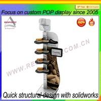 Unique free standing wooden shoe display rack