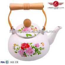 enamel cast iron tea pot with wood handle/teapot metal