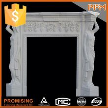 2014 New design Imported beige marble enamel fireplace and stove