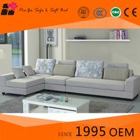 Classic indoor designs 3 piece grey linen L shaped sofa sets for living room
