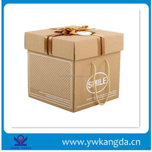 Hot hand made factory price luxury foldable cardboard box, brown color kraft paper box with ribbon and handle cheap price
