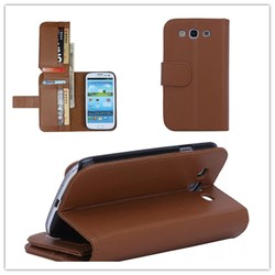 Fashion PU Leather Card Holder Slots Flip Cover Case For Samsung Galaxy S3 9300