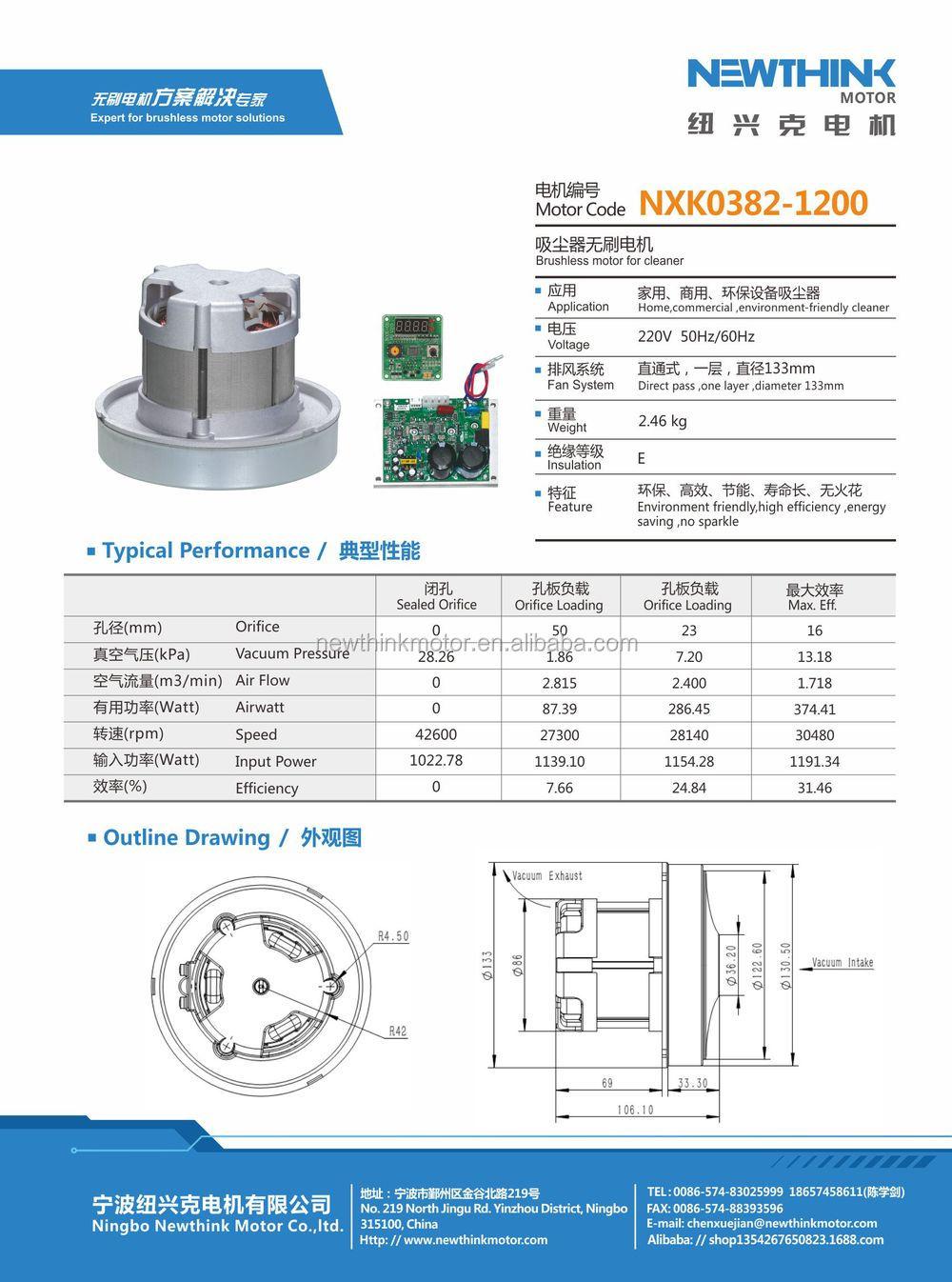 NEWTHINK NXK0382-1200W aspirateur avec eau acariens Moteur