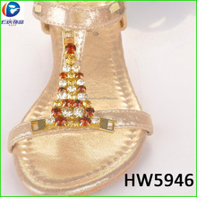 HW5946 the cool style gold color beautiful rhinestone for lady sandals