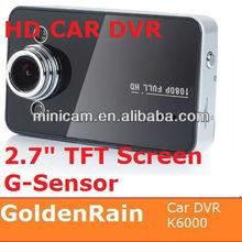 "K6000 2.7 "" Display 1080p car dvr with loop video recording"