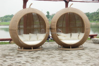 round shape canopy rattan sunbed electric recliner sofa with cushion