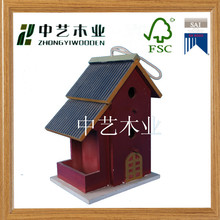 2015 FSC china supplier custom red color no split seed bird house wholesale