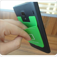 3M sticker silicone card holder/mobile phone card holder/silicon pocket