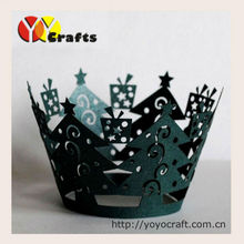 Christmas party decoration filigree Indian Laser cut cupcake wrapper Christmas tree cupcake wraps