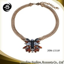 2015 Wholesale Chinese small order latest butterfly model fashion necklace crystal crafts