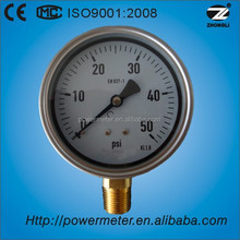 4 inch bourdon tube wika pressure gauge en837-1 for 50psi single scale dial