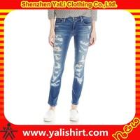 Wholesale high quality cheap damage straight cotton/polyester five pockets mix size ladies jeans kurta designs