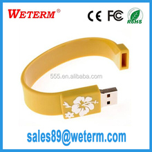 Custom Logo cooperation gifts 16gb usb silicone wristband