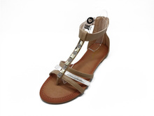 women cheap pu gladiator with diamonds flat open toe sandal
