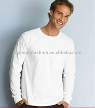 Factory price bulk produce blank solid color round neck long t shirt