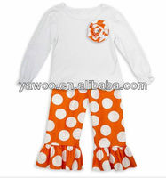 wholesale baby beauty school girls christmas outfits sets baby kids colorful big polka dots with ruffle pants clothes outfit