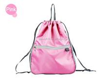 pink color custom cheap polyester foldable shopping tote drawstring bag