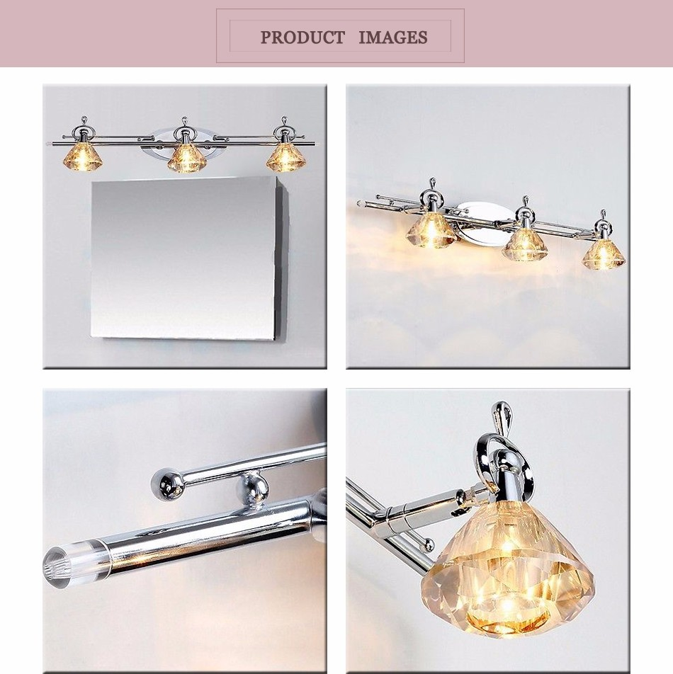 Modern onifer triple golden teak crystal bath vanity light wall lights lighting ebay for Crystal bathroom vanity light fixtures
