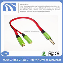 HOT SELLING 3.5mm Stereo Headphone Audio Jack Y cable Male to Dual 2 Female Double stereo Y Splitter Cable Adapter