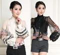 Alta calidad de la nueva moda 2015 blusas mujeres con volantes Collar con encanto impresión Floral Vintage linterna de la manga de la gasa de seda blusas